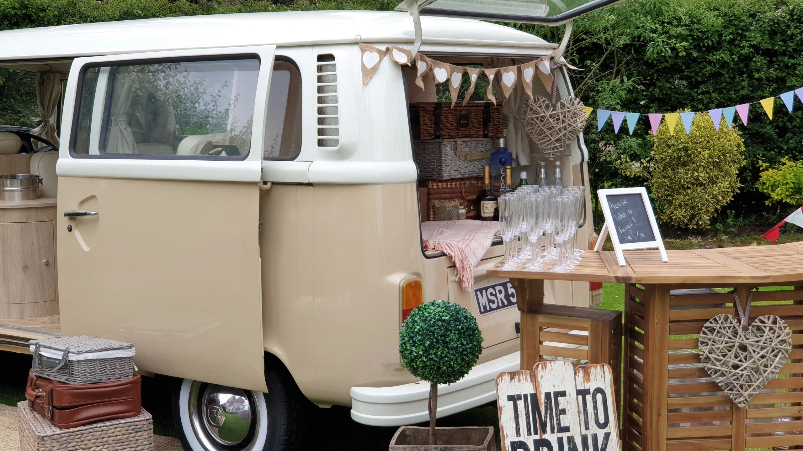 VW campervan Wedding limo mobile bar prosecco champagne bar lancashire manchester bury photo booth