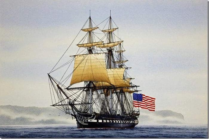 USS Constitution on Bellingham Bay, Washington State 1933 Watercolor and Gouache