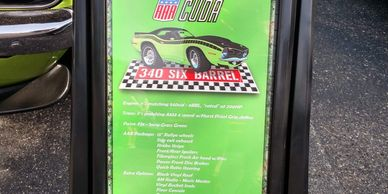 Car show information board for Joseph Palka's AAR 'Cuda!