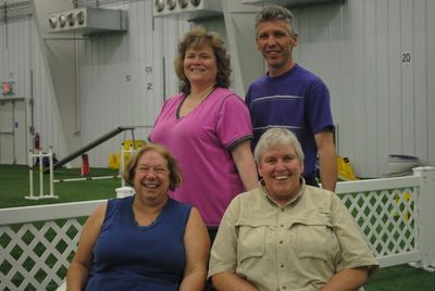 First row instructors; Linda Moore and Pat Kelm and second row instructors; Linda and Chuck Bowman