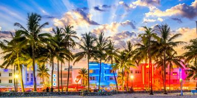 Ocean Drive in Miami Florida Charter Bus and minibus Rental Tours travel for private passenger group