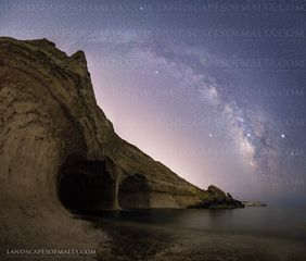 The Milkyway over ta marija cave in Mgarr. Starscapes of Malta & Gozo.