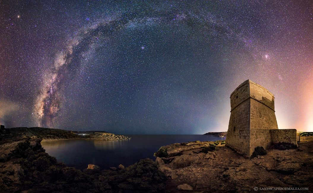 A Panoramic image of the Milkyway photographed from Ghajn Tuffieha Tower in Mid September