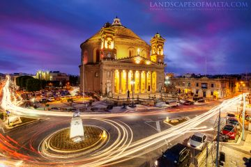 The Rotunda of Mosta - The Mosta Dome after sunset. Mosta Parish Church by Derren Vella