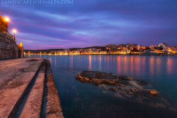 Xemxija bay at dusk - Malta Photography and Landscapes at dusk by Derren Vella