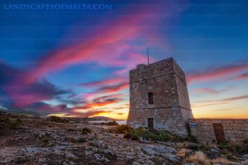 Madliena tower in Pembroke at dusk - sunset photography of malta and gozo at Madliena tower