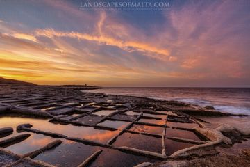 Sunset from Bahar ic-caghaq. Bahar ic caghaq salt pans photography of Malta and Gozo