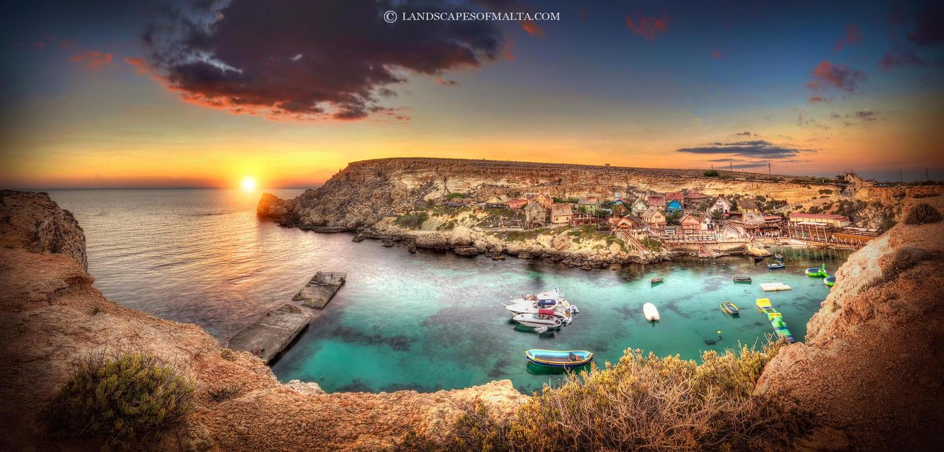 Popeye's village at sunset. landscapes of malta by derren vella