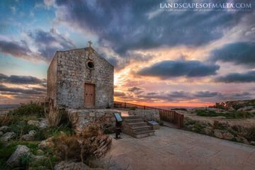 St Mary Magdalene Chapel in Dingli at Sunset - Fine art prints of malta and gozo. Dingli Cliffs