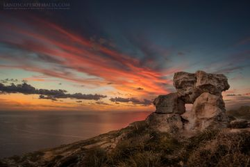 Fiery dusk over Dingli Cliffs - Fine art prints - Landscapes of Malta & Gozo | Derren Vella