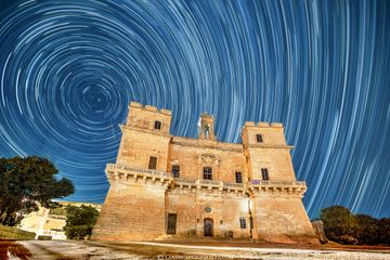 A 2.5 hours of Startrails over Selmun Palace. Copyright Landscapes of Malta by Derren Vella