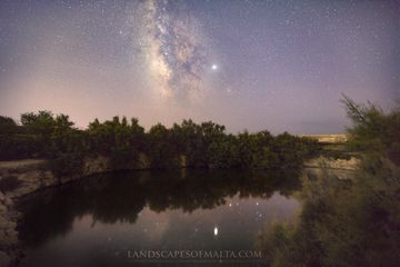The Milkyver San Raflu Lake in San Lawrenz. Starscapes of Malta