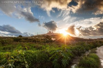 Sun setting over Mdina - Malta Landscape Photography by Derren Vella