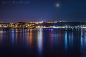 MoonRise over the city of Mellieha. Fine Art Landscapes of Malta & Gozo.