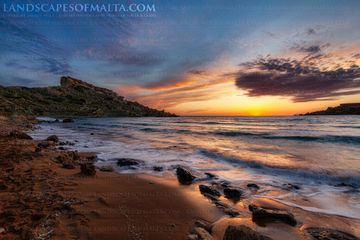 Riviera beach malta at sunset photography of Malta and Gozo by Derren Vella