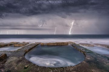 Thunderstorm from the Roman baths in Sliema