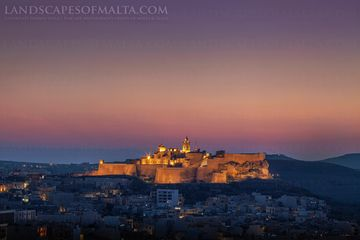 The Citadel after Sunset - Fine art Landscapes of Gozo By Derren Vella