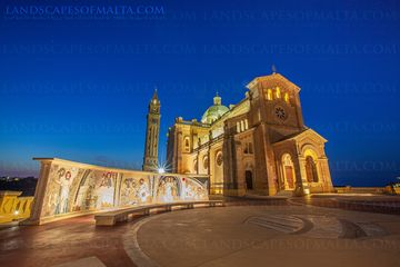 Ta' Pinu shrine - Landsape photography prints of Gozo at Sunset by Derren Vlla