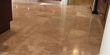 Travertine honing, polishing, and grout sealing to beautify the stone.  Clean, fresh, and healthy.