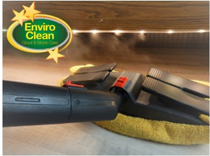 Dry vapor steam to disinfect flooring; tile, hardwood floors, and carpet.