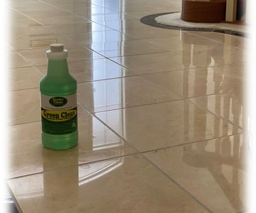 Green Clean - neutral PH safe on tile, grout, granite, marble, travertine, and limestone.