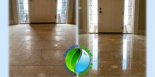 Enviro Clean Grout & Stone Care Hones and polishes travertine.