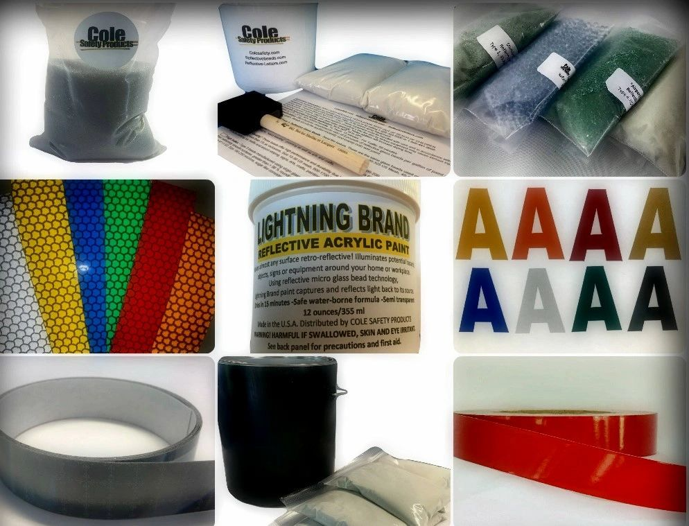 Cole Safety Products, Reflective Glass beads, Lightning Brand, Safety Tape, Reflective letters
