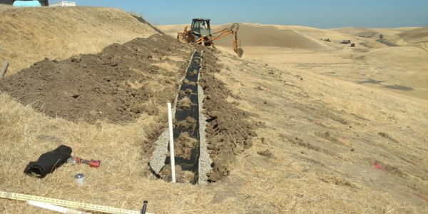 Septic tank drain field under construction in Byron, California.