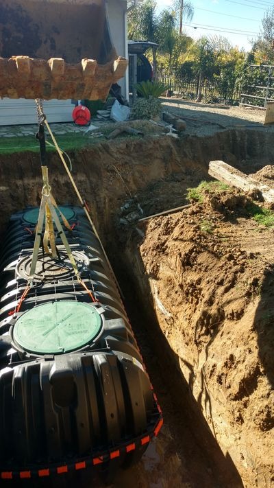 New septic tank being installed for a Livermore Valley home replacement septic system.