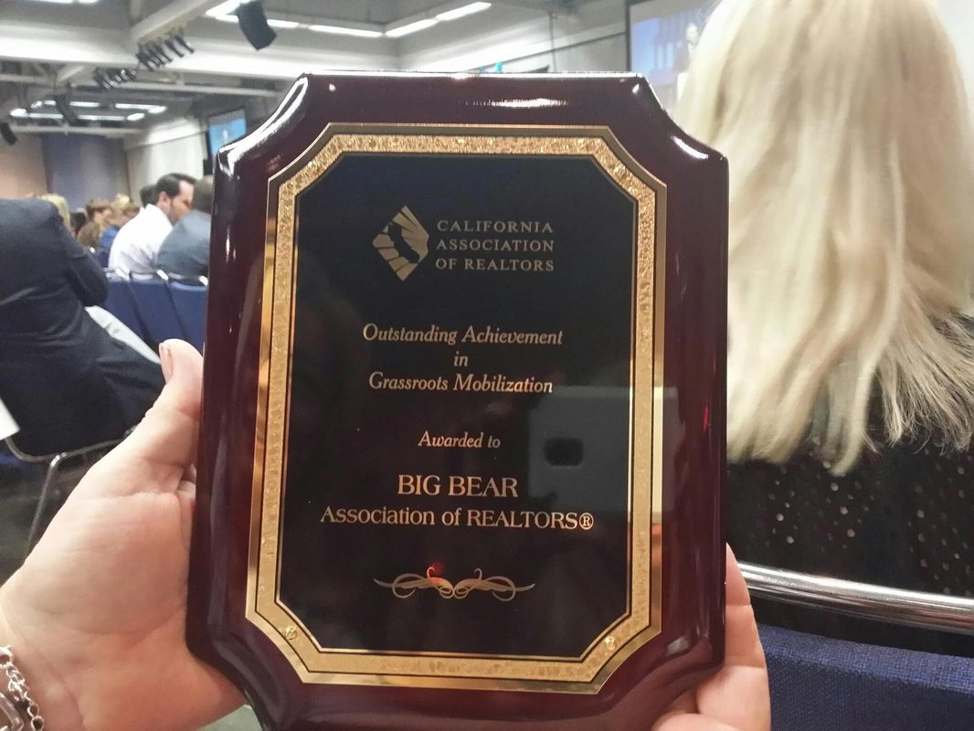 Big Bear Winning an award in Scaremento at C..A.R. meetings for responding to RED ALERTS