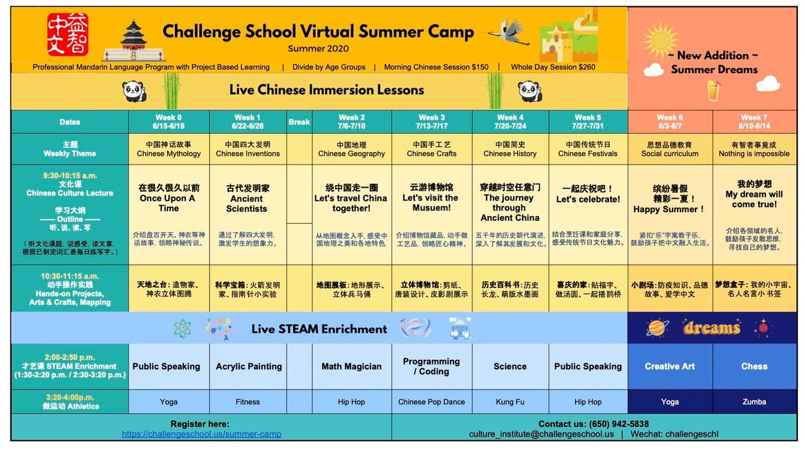 Summer Camp, Online Camp, Mandarin, Zoom, Immersion, Project, PBL