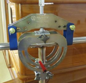 Image of Angle-Rite Clamp holding intersecting stainless tubes in place and tack weld applied.