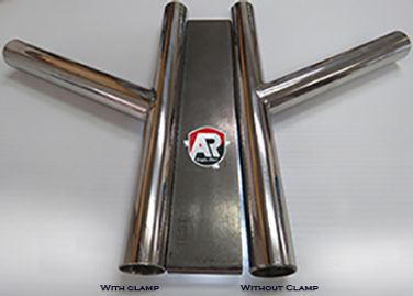 Image of identical intersected stainless tubes against straight edge to show improved quality.