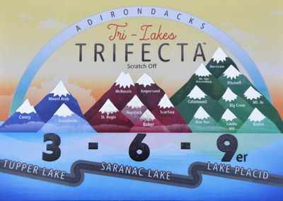 The Tri-Lakes TRIFECTA scratch off card. Scratch the peaks as you hike the challenges and log your hikes on the back of the card!