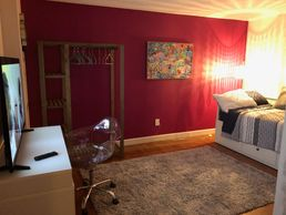 Luxury Sober Living in Nashville Tennessee - TV meditation room, office Women's House Upscale Room