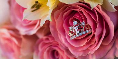 pink, roses, bouquet, ring, flower, bloom, gift, quinceanera, love, fifteen, bunch, celebration