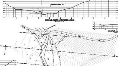 River crossing plan in profile.