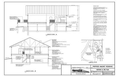 House plan showing sections and site plan.