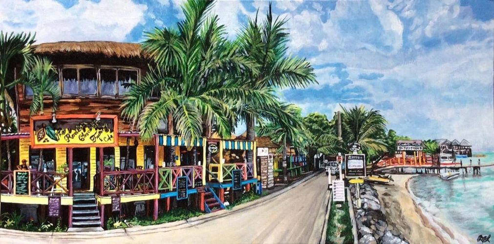 Beautiful Acrylic on Canvas of The Roatan Chocolate Factory by Canadian artist Mariane LeBlanc