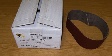 "2 Belts 3"" x 24"" Grit 120. Sia Series 2921 Siawood.  (Box of 2)  $2.50 x 2 = $5"