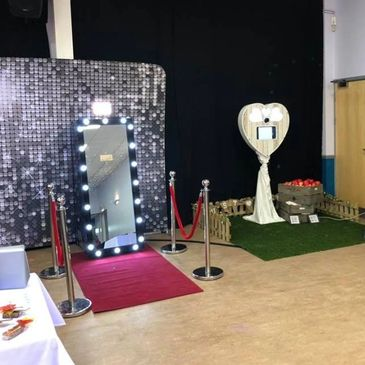 Wedding fayre set up with our Hollywood mirror and Rustic Heart Booth. Photobooth fun