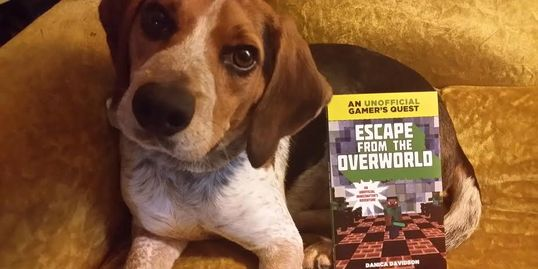 My blue tick beagle Porthos with my first published book.