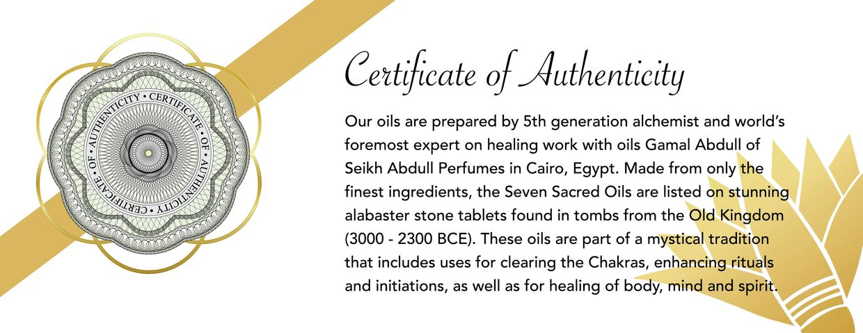 Certificate of authenticity bloom fine Egyptian chakra oils