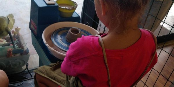 All ages are welcome. throwing on the Pottery wheel fun any day of the week