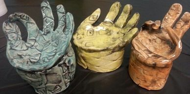 hand prints + clay = beautiful functional art!