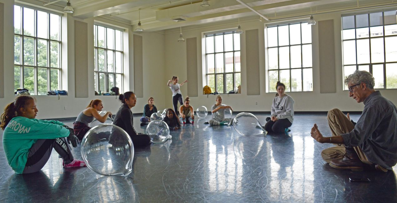 Professor David Covey (Ohio State, Department of Dance), dancers at rehearsal for The ORB Project