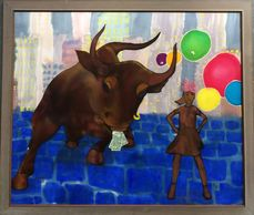 "Fearless Girl and Wall Stret Bull inspired Art. Silk Painting of Fearless Girl with balloons and 'pink Pussy "" hat."