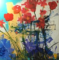 Modernist Poppies . acrylic painting on found canvas