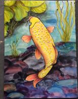 "Golden koi , painted with ""ColorHue"" dyes on Silk"