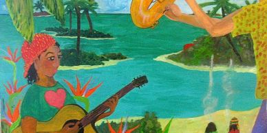 Acrylic Painting of Island scene and musicians. Commission of Gram's Place - ostel in Tampa Florida. http://grams-inn-tampa.com/